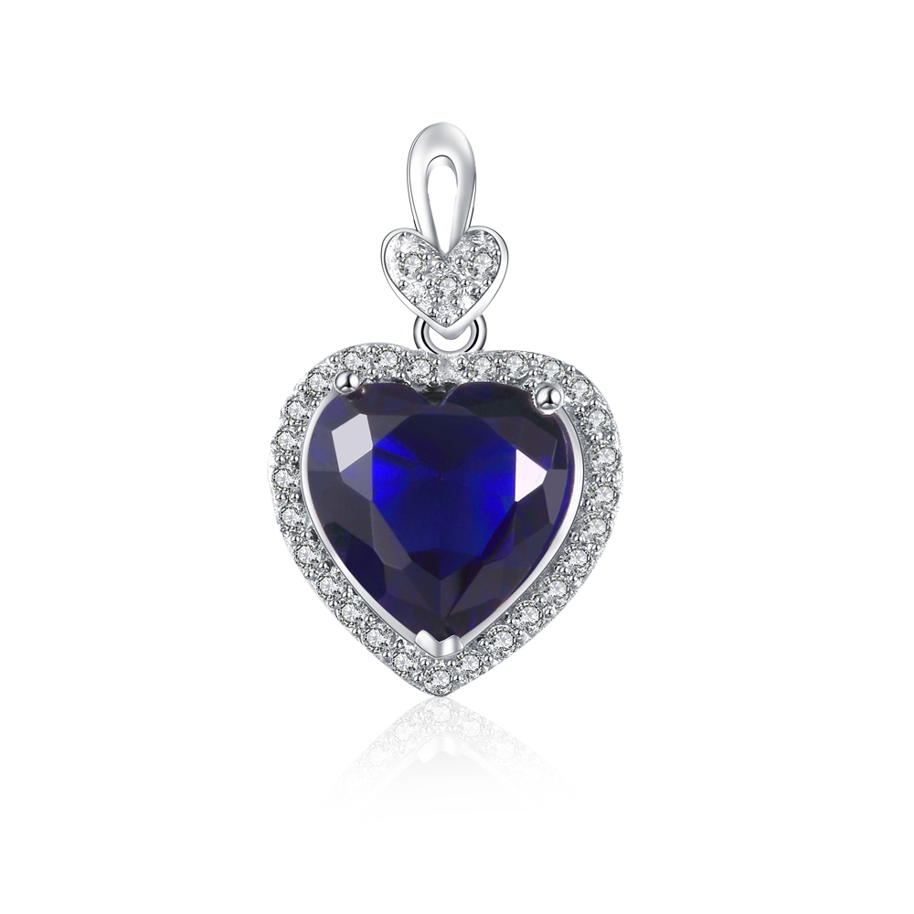 product-Fashion heart pendant sterling silver with AAA level CZ blue stones customized-BEYALY-img