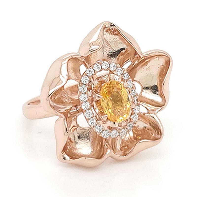 18k custom made rose gold flower ring