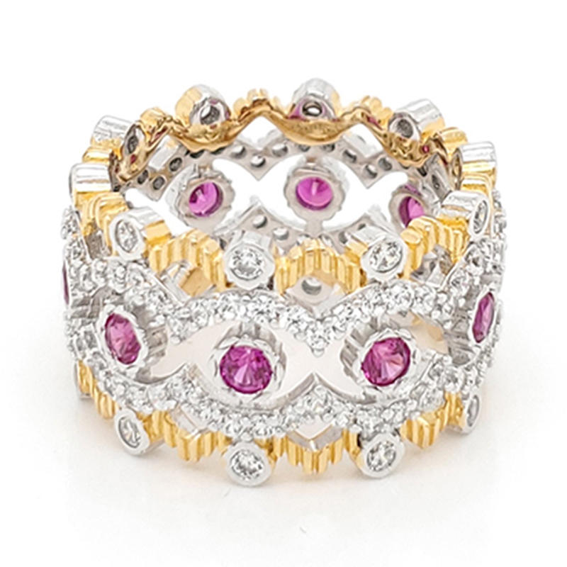 product-BEYALY-Royal crown shaped ring with pink gemstone-img