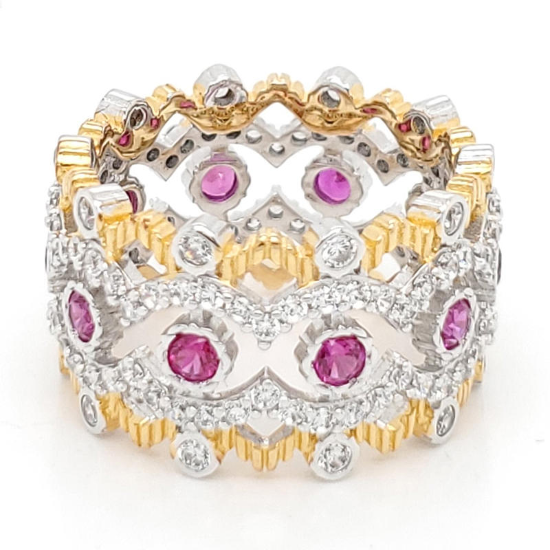 product-Royal crown shaped ring with pink gemstone-BEYALY-img-1