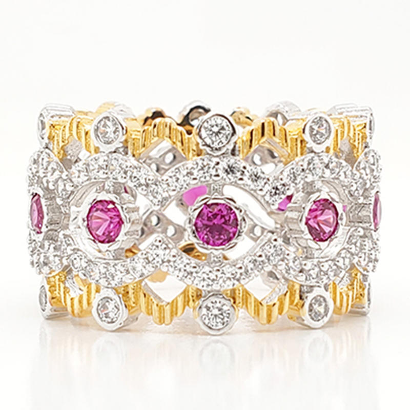 Royal  crown shaped ring with pink gemstone