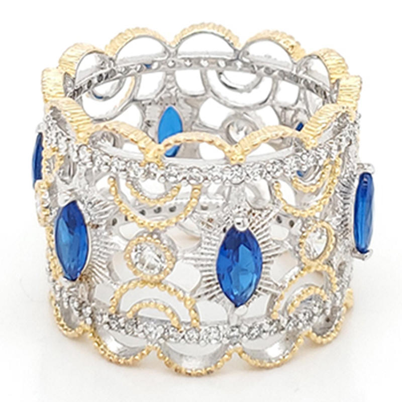 product-Royal crown type ring with blue gemstone-BEYALY-img-1