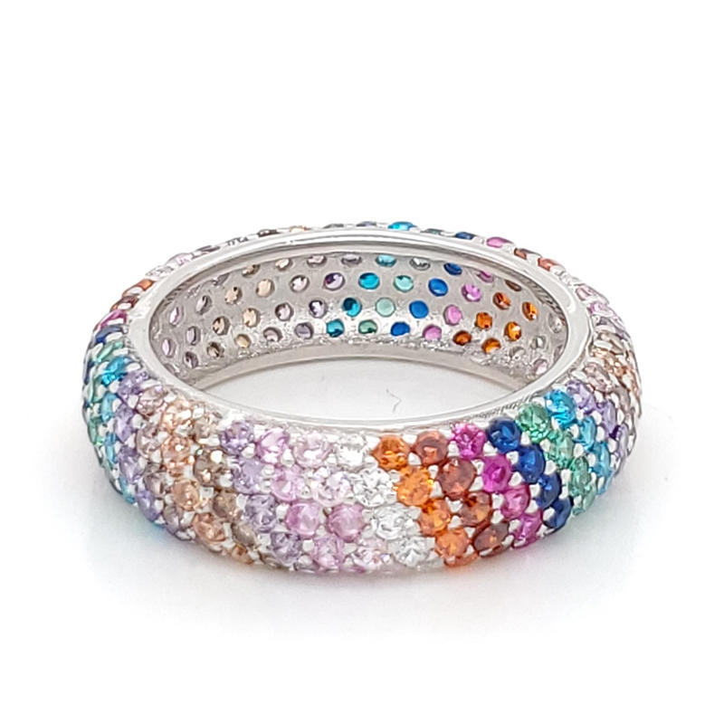 Fashion Design 925 Sterling Silver Jewelry Rainbow Silver Ring