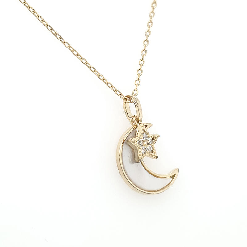 Fashion jewelry necklace 2019 wholesale silver crescent moon pendant necklace