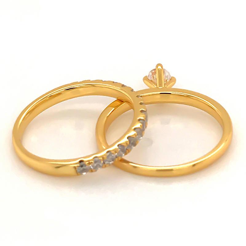Simplest design ring set with 18k gold plating