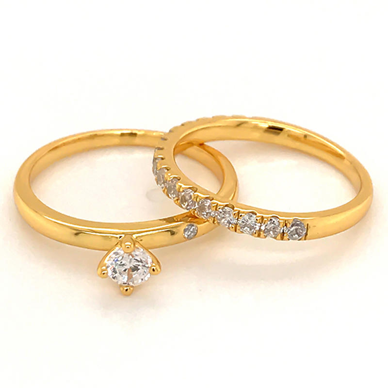 Simplest design ring set with 18k gold plating