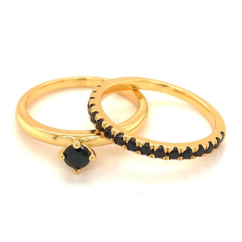 Customizable 18k gold plating ring set for wedding