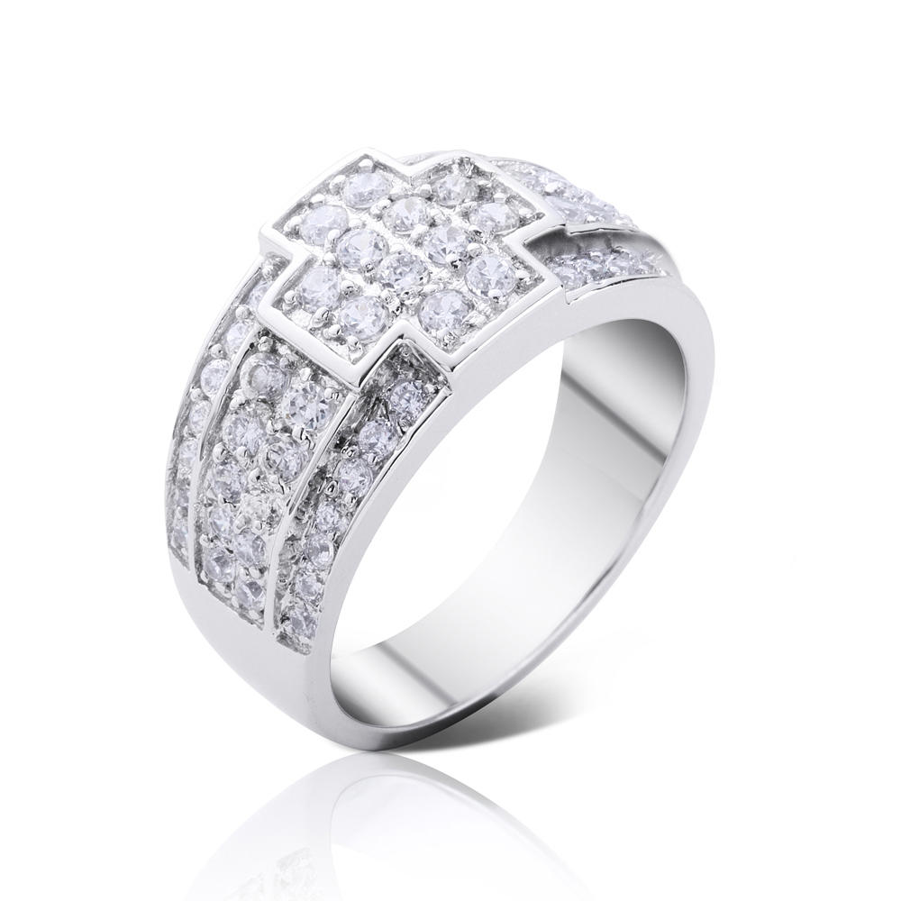 product-BEYALY-sterling silver zircon cross ring 925 silver custom ring engraving-img