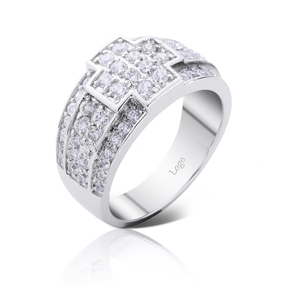 product-sterling silver zircon cross ring 925 silver custom ring engraving-BEYALY-img-1