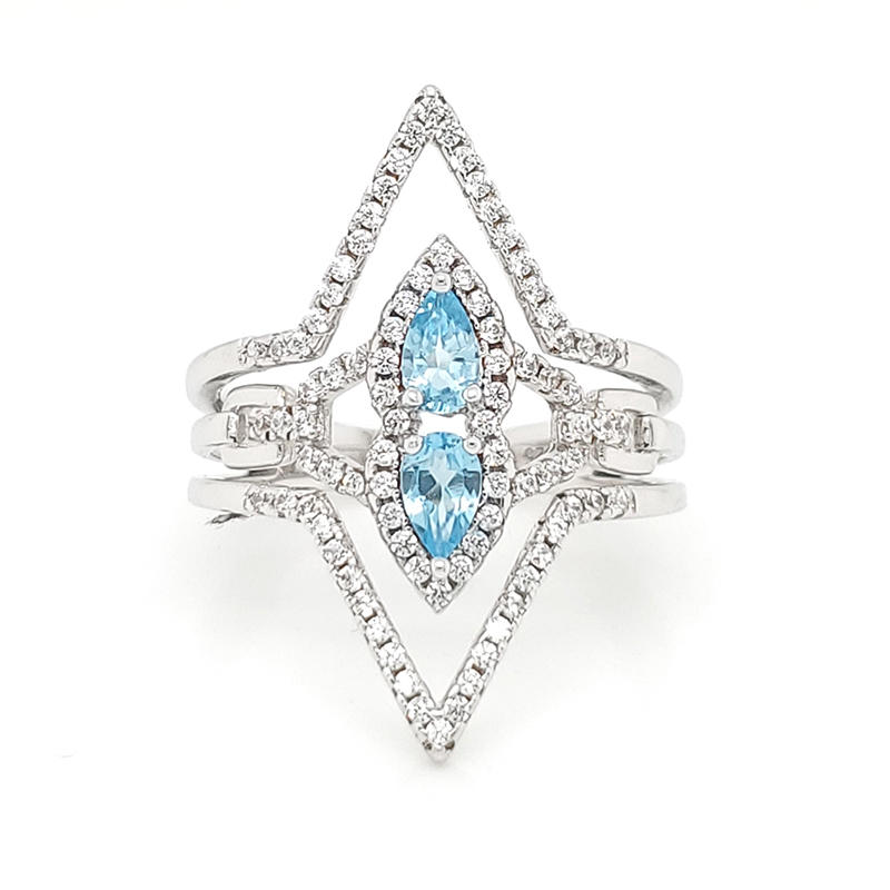 Special design elegant blue genstone diamond ring