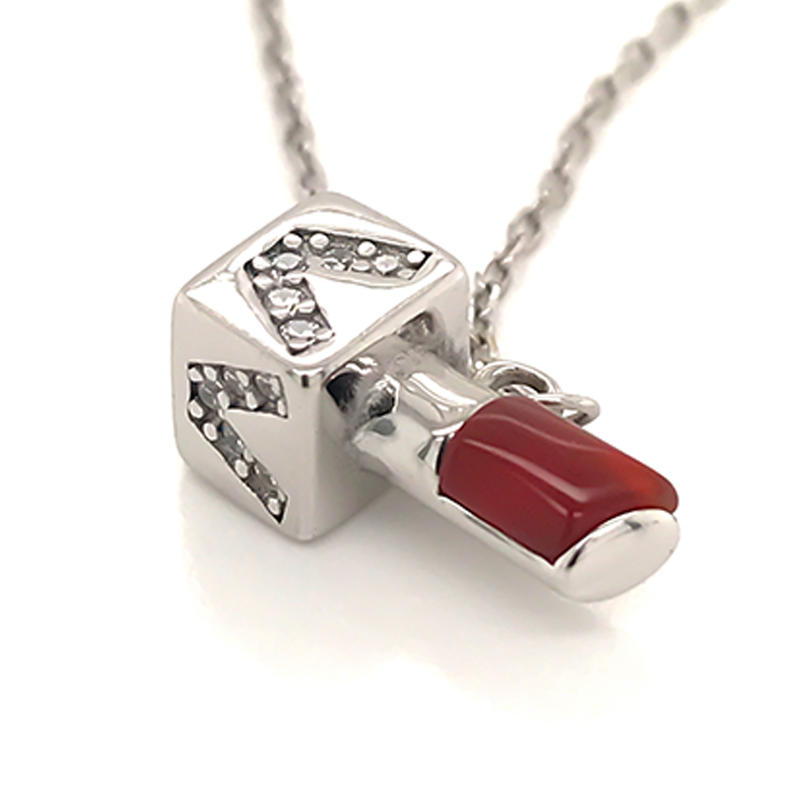 Custom made 925 sterling silver Lipstick pendant necklace