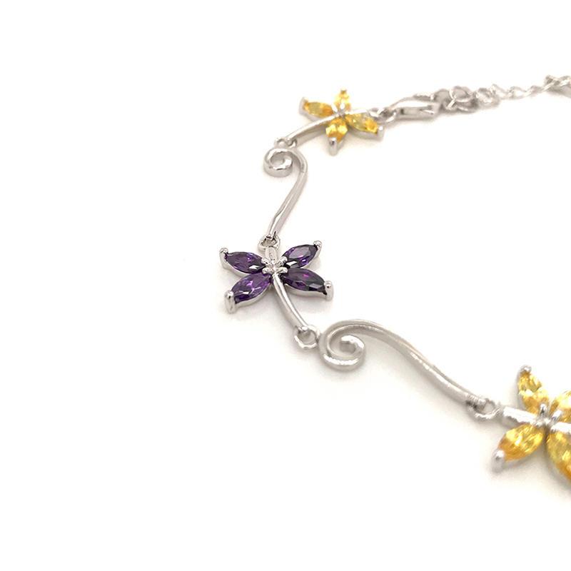 Simple design colored zircon butterfly bohemian 925 sterling silver bracelets bangles