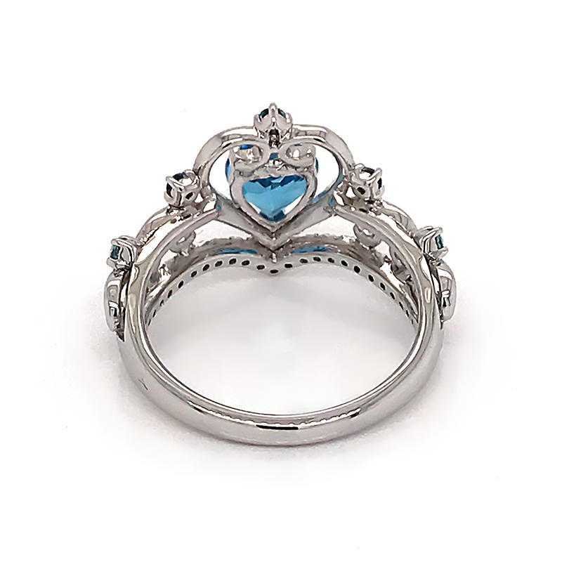 925 Sterling Silver Ring Jewelry Love Heart Shaped Ring Wedding Ring