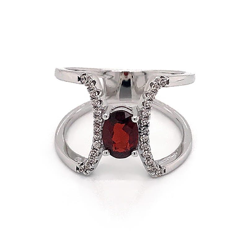 Fashion simple design charm shiny red zirconia geometric rings for women fashion jewelry