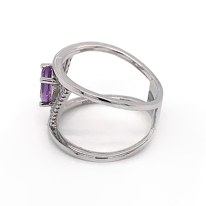 Fashion jewelry Purple Birthstone Silver Ring Zircon geometric shape Luxury ring