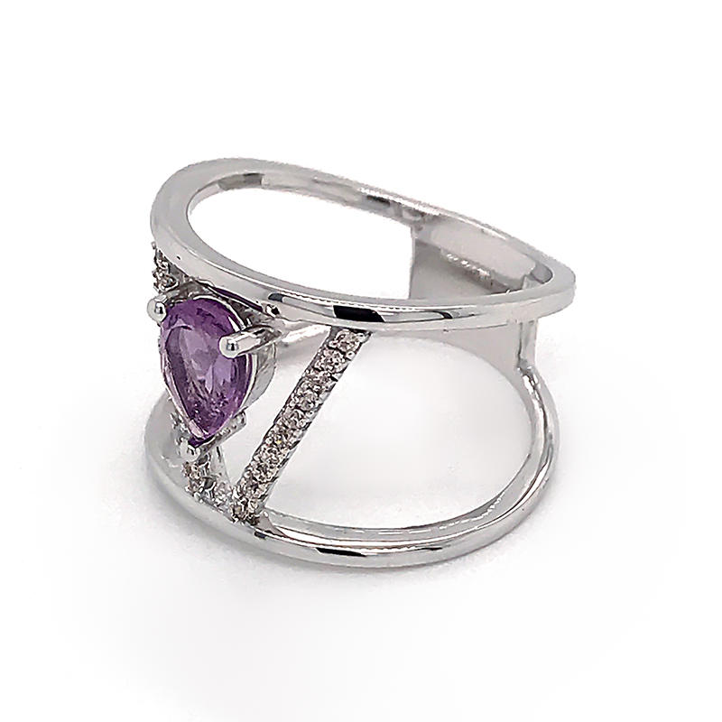 Fashion jewelry Purple Birthstone Silver Ring Zircon geometric shape Luxury ring