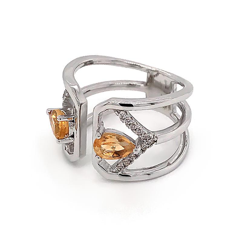 Geometric design gemstone silver ring for women