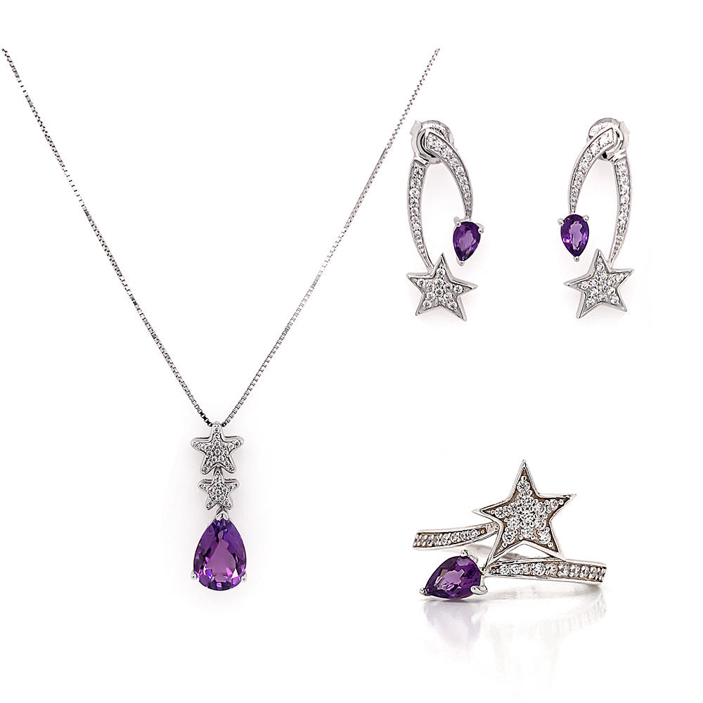 Fashion jewelry 925 sterling silver beautiful purple gemstone jewelry set star shape design jewellery sets