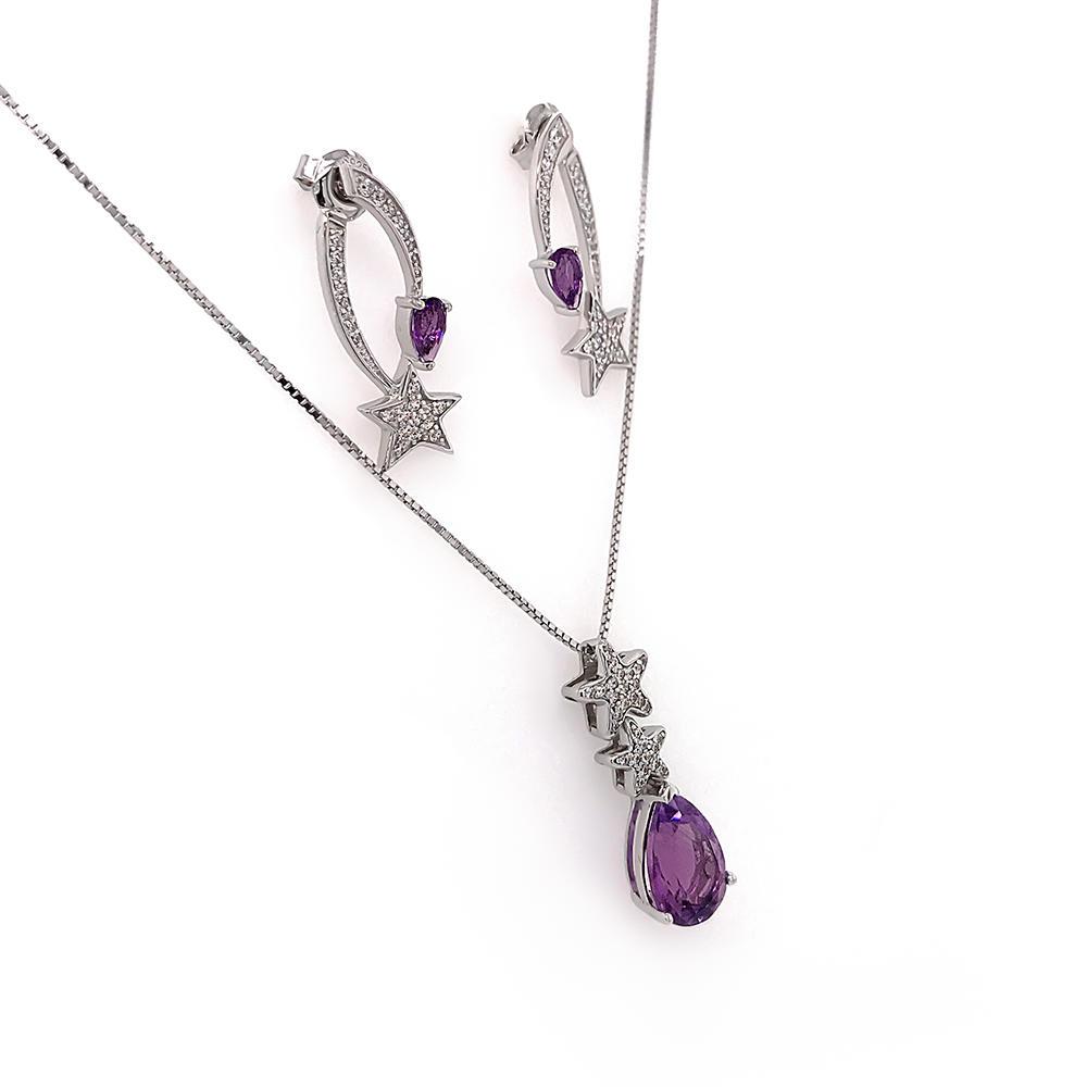Fashion jewelry 925 sterling silver beautiful purple gemstone jewelry set star shape design jewellery sets