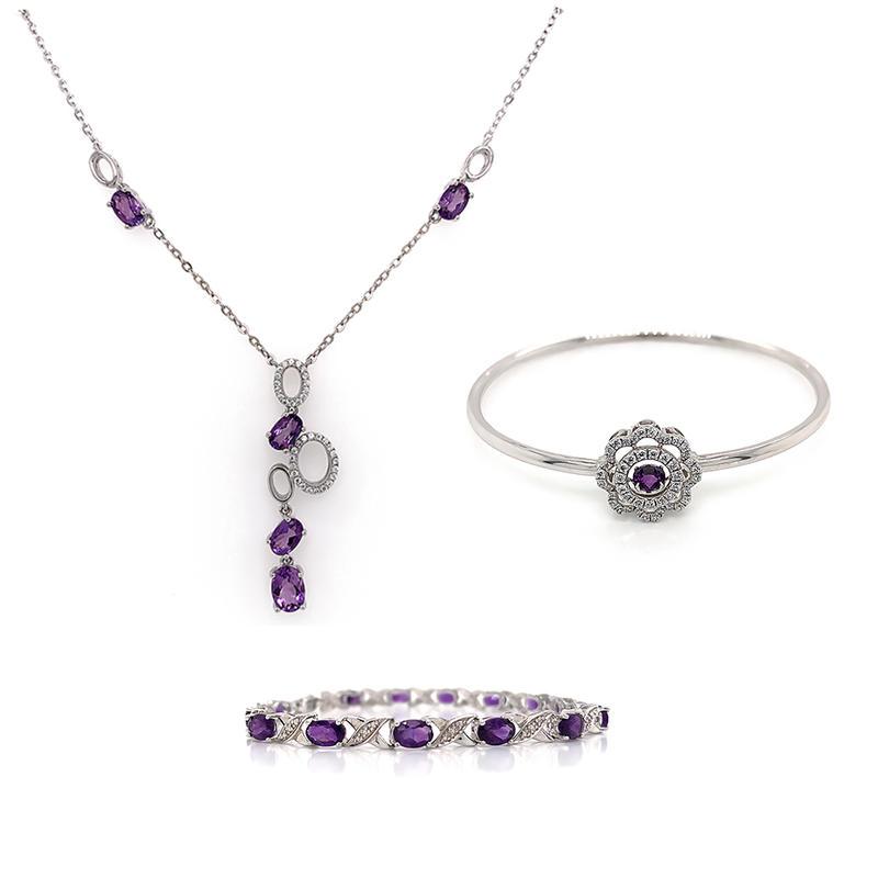 Wholesale 2020 new design oval gemstone jewelry necklace bracelet and bangle jewelry set