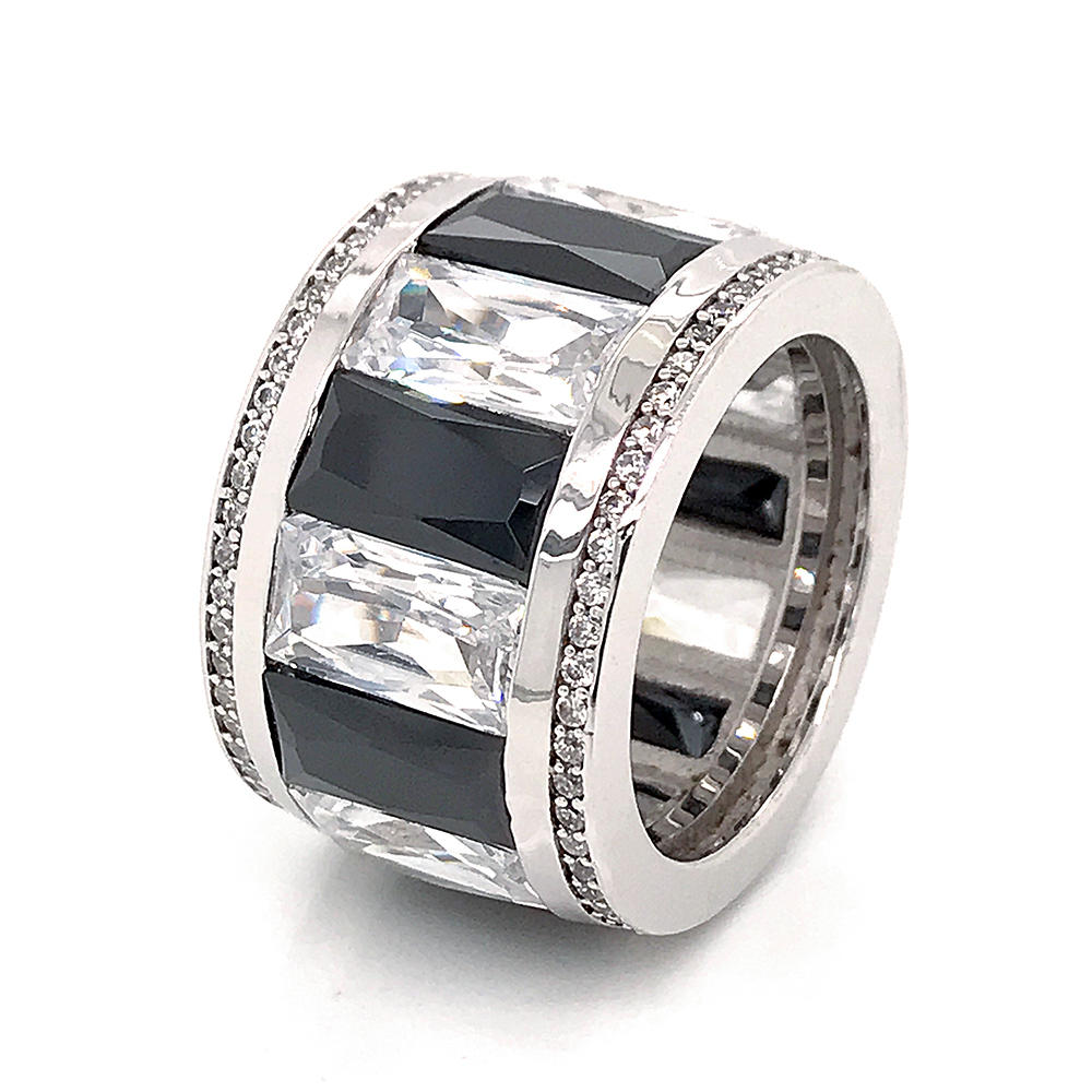 Unique design white and black channel setting cubic zirconia silver ring