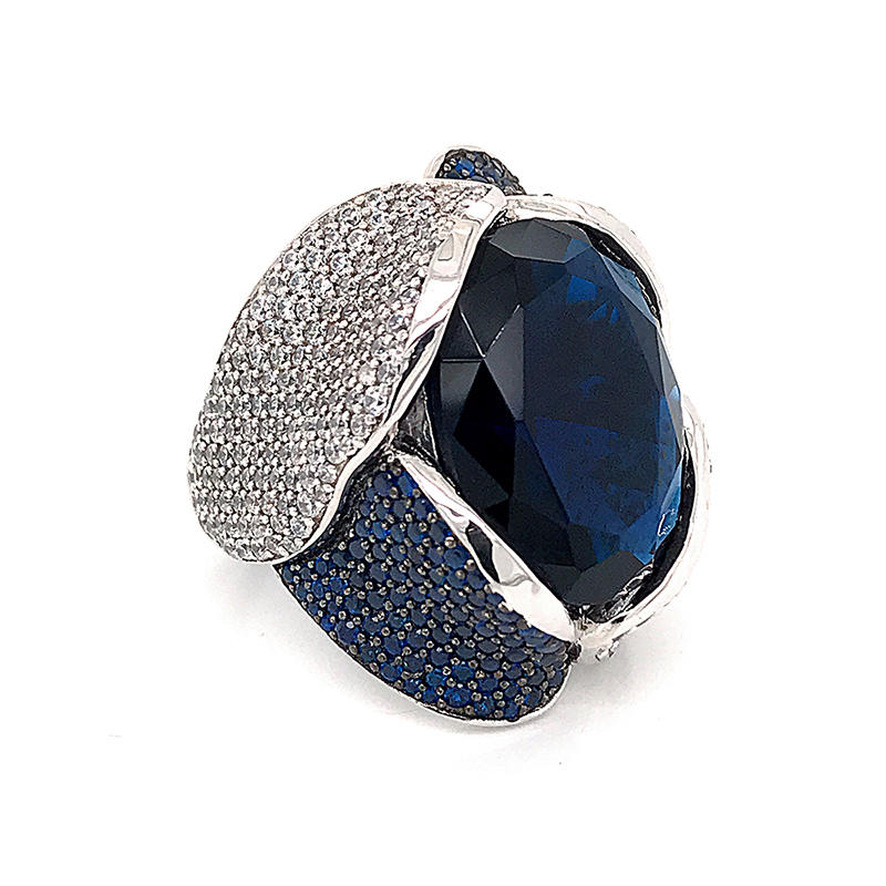 Gemstone Ring blue Zirconia Engagement Sterling Silver 925 Rings Jewelry for Women