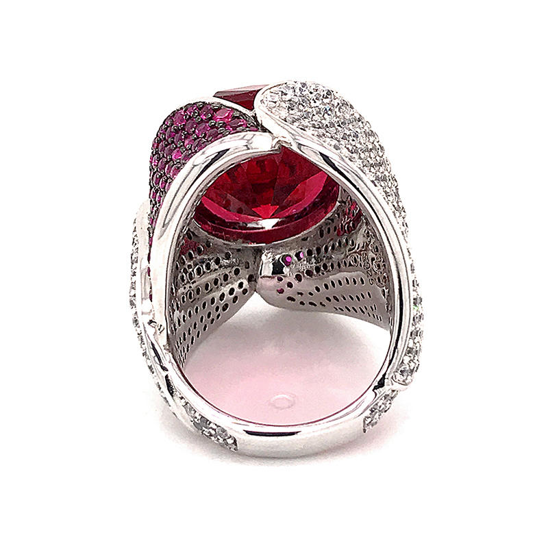 High quality Red Gemstone 925 Sterling Silver engagement ring luxury finger ring jewelry