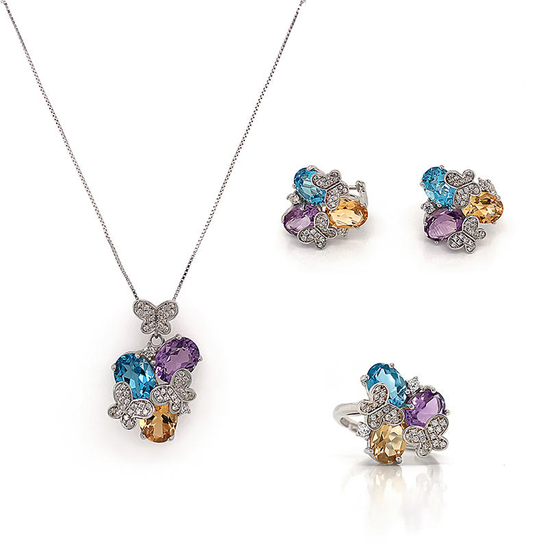 Colorful Jewelry oval Zircon necklace,earrings and ring Jewelry Set