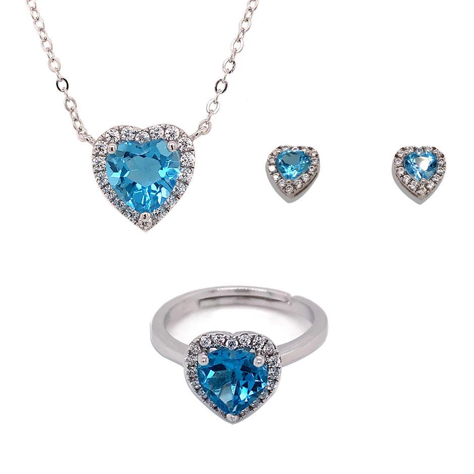 Blue gemstone heart shape jewelry design women silver jewelry set