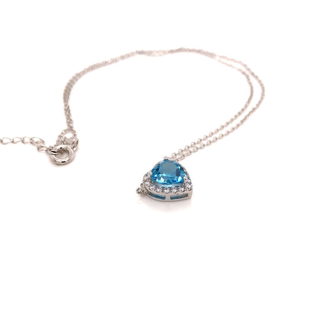 product-Blue gemstone heart shape jewelry design women silver jewelry set-BEYALY-img-1