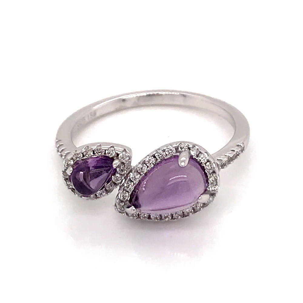 Simple silver amethyst artificial natural diamond ring