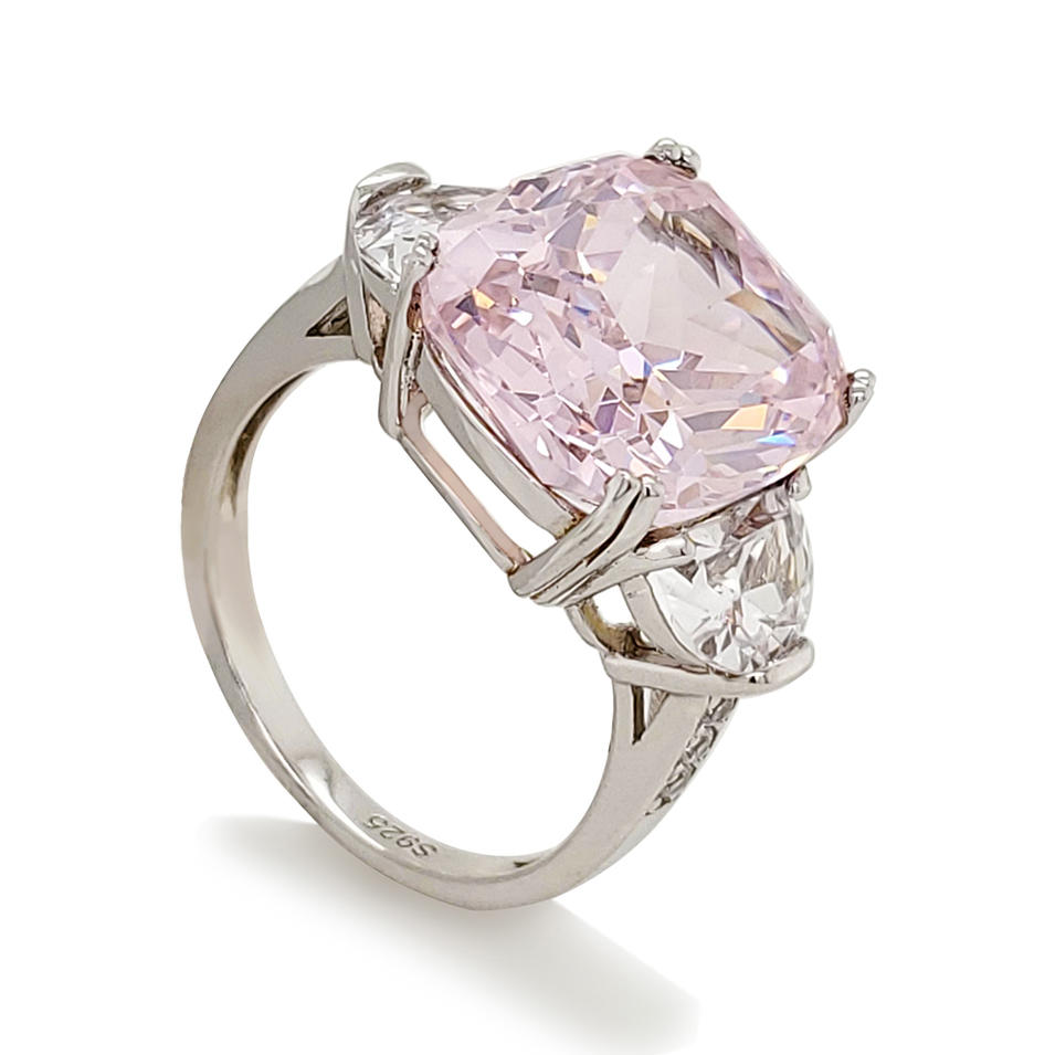 Luxury pink gemstone silver ring
