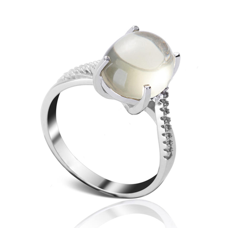 Sterling Silver Rhodium Plated Stone Rings