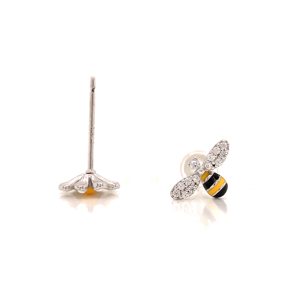 product-BEYALY-Cute animal design 925 sterling silver lovely bee stud earring-img
