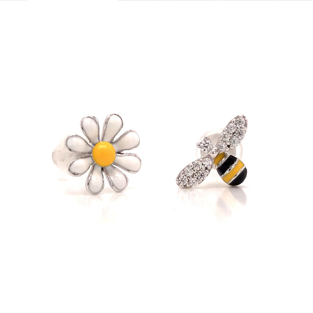 Cute animal design 925 sterling silver lovely bee stud earring
