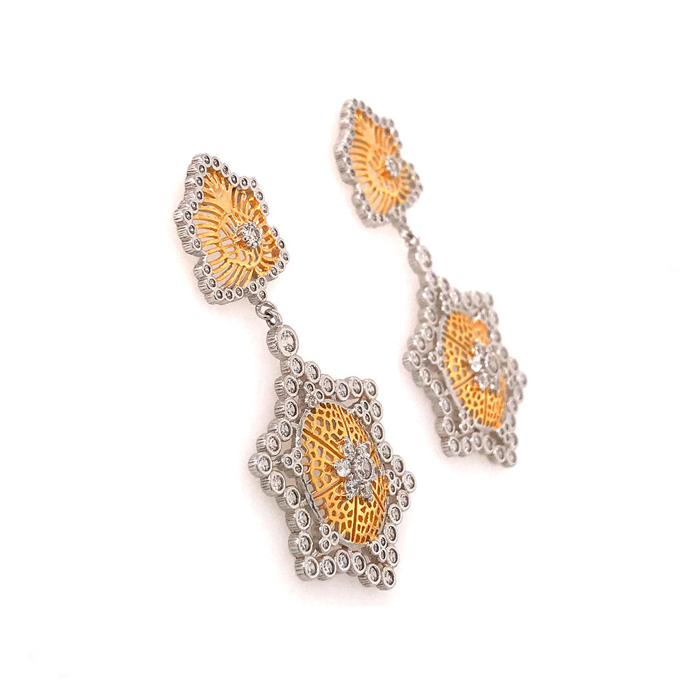 product-Italian craft earring jewelry honeycomb hollow gold-plated earrings-BEYALY-img-1