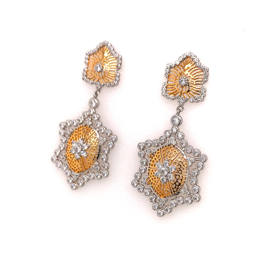 product-BEYALY-Italian craft earring jewelry honeycomb hollow gold-plated earrings-img