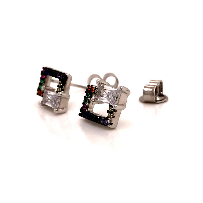 product-Geometric Stud Silver Jewelry Earrings for Womens-BEYALY-img-1