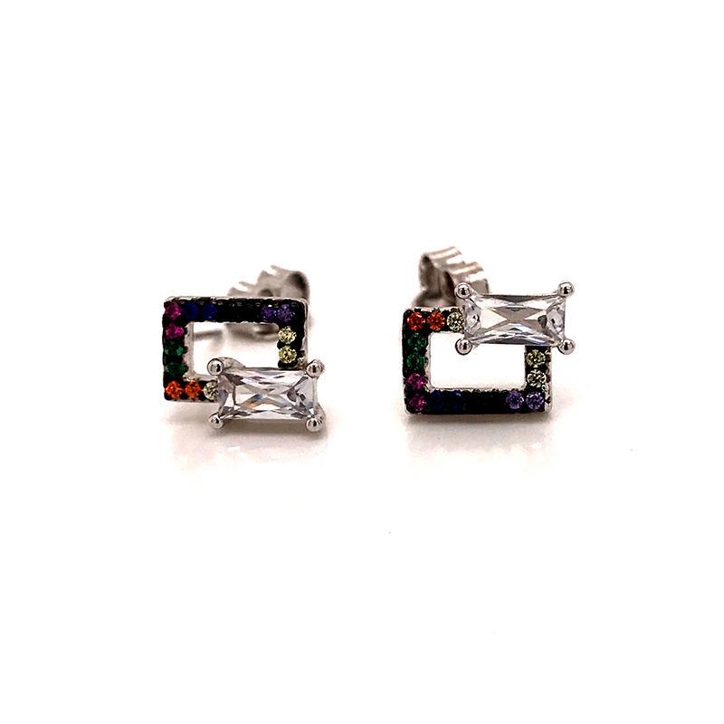 Geometric Stud Silver Jewelry Earrings for Womens