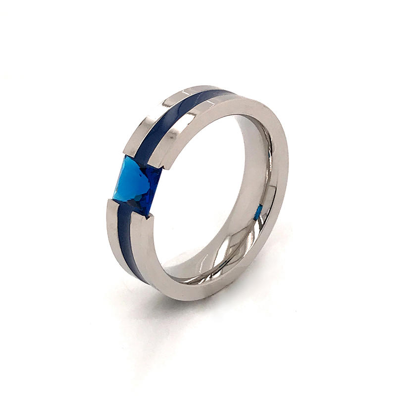 Wholesale channel setting Metal Rings with blue zircon Inlay for Men ,Comfort Fit Ring