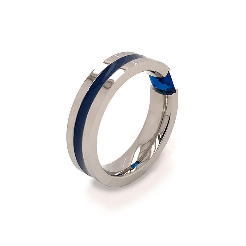 product-BEYALY-Wholesale channel setting Metal Rings with blue zircon Inlay for Men ,Comfort Fit Rin