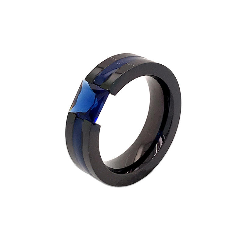 product-Wholesale channel setting Metal Rings with blue zircon Inlay for Men ,Comfort Fit Ring-BEYAL-1