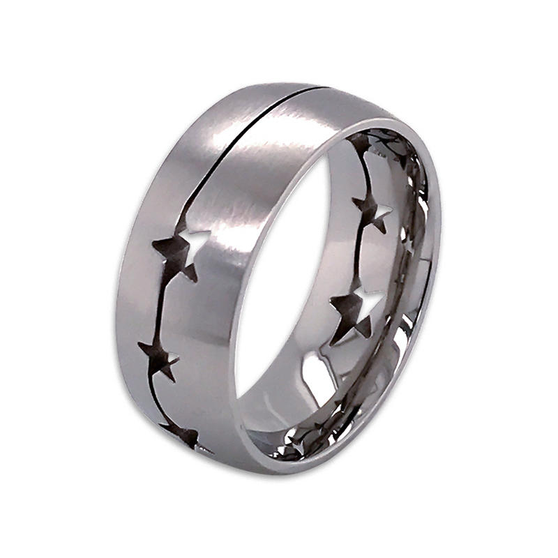 Simple design silver gold black stainless steel rings custom bar engraved logo ring for men