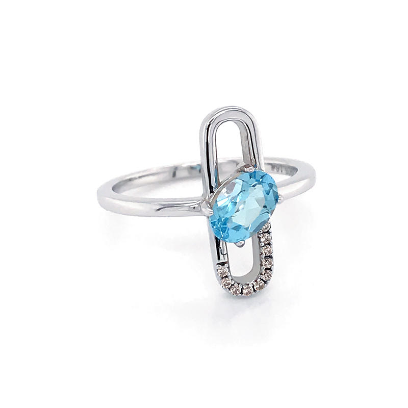 Special design paper Paper clip shape 925 Sterling Silver Jewelry Ring With Blue Topaz