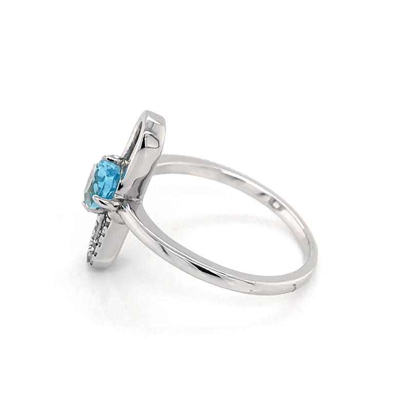product-Special design paper Paper clip shape 925 Sterling Silver Jewelry Ring With Blue Topaz-BEYAL-1