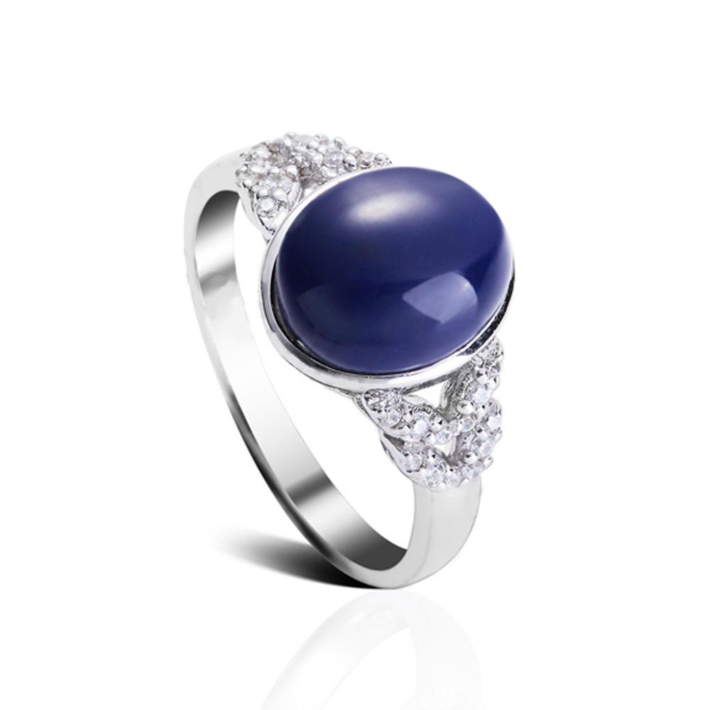 product-BEYALY-Big Stone Jewelry Gemstone Ring Mens Dark Blue Turquoise Ring-img