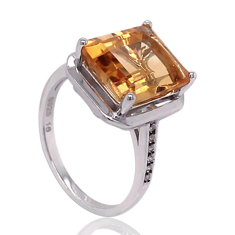 925 silver Asscher Cut Cubic Zirconia Halo Ring