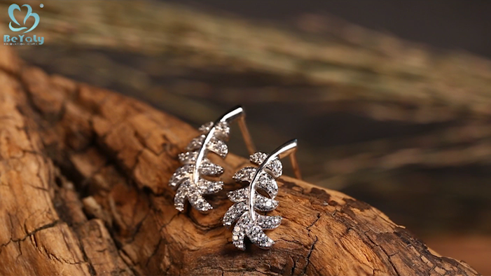 Shine leaf earring