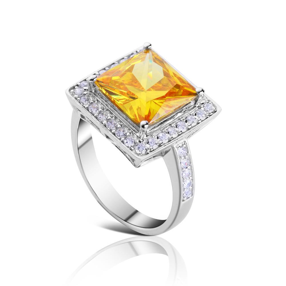 product-BEYALY-Square Design Yellow Stone Silver Bijoux 925 Rings-img