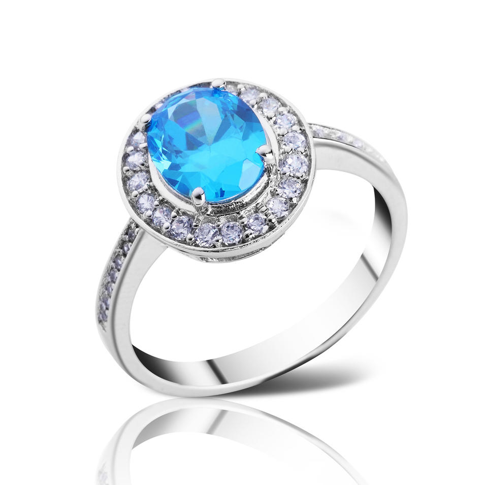 Blue zircon Wedding Silver 925 Rings design